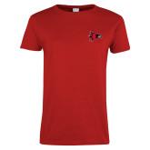 Bookstore Ladies Red T Shirt-Hawk Head