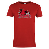 Bookstore Ladies Red T Shirt-Official Artwork Distressed 1