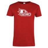 Bookstore Ladies Red T Shirt-SEMO Logo
