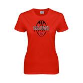 Ladies Red T Shirt-Tall Football Design