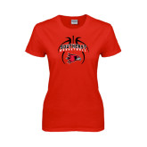 Ladies Red T Shirt-Graphics in Basketball