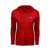 State Ladies Red Fleece Full Zip Hoodie-Official Logo