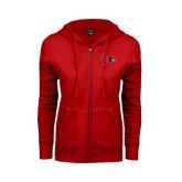 State Ladies Red Fleece Full Zip Hoodie-Redhawk Head