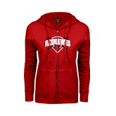 Ladies Red Fleece Full Zip Hoodie-Softball Design w/ Bats and Plate