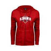 Ladies Red Fleece Full Zip Hoodie-Softball Design w/ Bats and Plate
