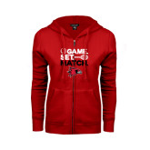 Ladies Red Fleece Full Zip Hoodie-Tennis Game Set Match
