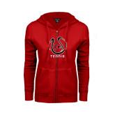 Ladies Red Fleece Full Zip Hoodie-Tennis Ball