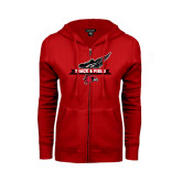 Ladies Red Fleece Full Zip Hoodie-Track and Field Side Design