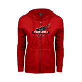Ladies Red Fleece Full Zip Hoodie-Track and Field Side Design