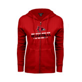 Ladies Red Fleece Full Zip Hoodie-Volleyball Can You Dig It