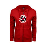 Ladies Red Fleece Full Zip Hoodie-Volleyball Stars Design