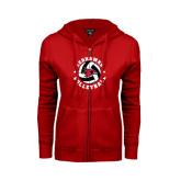 Ladies Red Fleece Full Zip Hoodie-Volleyball Stars Design