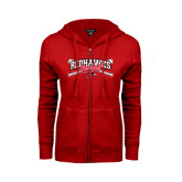 Ladies Red Fleece Full Zip Hoodie-Baseball Bats