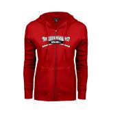 Ladies Red Fleece Full Zip Hoodie-Baseball Crossed Bats
