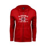 Ladies Red Fleece Full Zip Hoodie-Redhawks XC