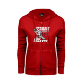 Ladies Red Fleece Full Zip Hoodie-Cross Country Winged Shoe