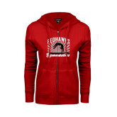 Ladies Red Fleece Full Zip Hoodie-Redhawk Gymnastics Backflip
