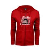 Ladies Red Fleece Full Zip Hoodie-Redhawk Gymnastics Backflip