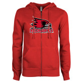 Bookstore ENZA Ladies Red Fleece Full Zip Hoodie-Primary Logo