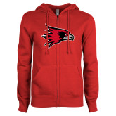Bookstore ENZA Ladies Red Fleece Full Zip Hoodie-Hawk Head