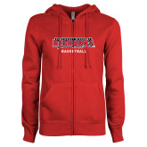 Bookstore ENZA Ladies Red Fleece Full Zip Hoodie-Basketball