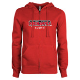 Bookstore ENZA Ladies Red Fleece Full Zip Hoodie-Alumni
