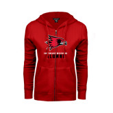 Ladies Red Fleece Full Zip Hoodie-Alumni