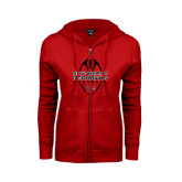 Ladies Red Fleece Full Zip Hoodie-Tall Football Design
