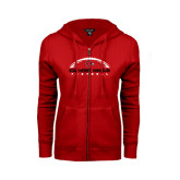 Ladies Red Fleece Full Zip Hoodie-Arched Football Design