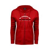 Ladies Red Fleece Full Zip Hoodie-Arched Football Design