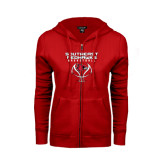 Ladies Red Fleece Full Zip Hoodie-Graphics on Basketball