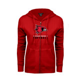 Ladies Red Fleece Full Zip Hoodie-Softball