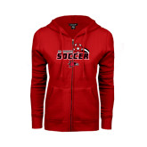 Ladies Red Fleece Full Zip Hoodie-Soccer Swoosh