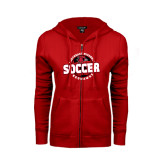 Ladies Red Fleece Full Zip Hoodie-Soccer Design