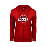 Ladies Red Fleece Full Zip Hoodie-Soccer Design