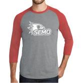 Bookstore Grey/Red Heather Tri Blend Baseball Raglan-SEMO Logo
