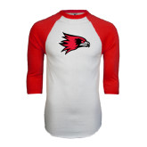 White/Red Raglan Baseball T-Shirt-Redhawk Head
