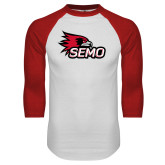 Bookstore White/Red Raglan Baseball T Shirt-SEMO Logo