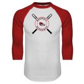 Bookstore White/Red Raglan Baseball T Shirt-Baseball with Crossed Bats