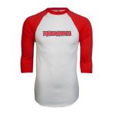 White/Red Raglan Baseball T-Shirt-Redhawks