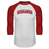 White/Red Raglan Baseball T-Shirt-Arched Southeast Missouri Redhawks