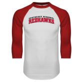 White/Red Raglan Baseball T-Shirt-Arched Southeast Missouri Redhawks