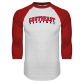 White/Red Raglan Baseball T-Shirt-Southeast Redhawks