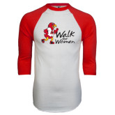 White/Red Raglan Baseball T-Shirt-Walk For Redhawks