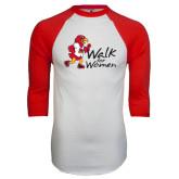 White/Red Raglan Baseball T-Shirt-Walk For Redhawks