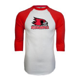 White/Red Raglan Baseball T-Shirt-Official Logo Distressed