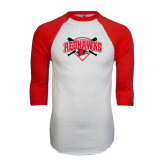 White/Red Raglan Baseball T-Shirt-Softball Design w/ Bats and Plate