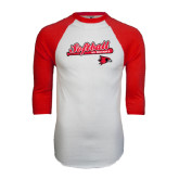 White/Red Raglan Baseball T-Shirt-Softball Script on Bat