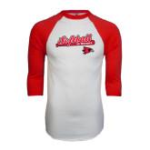 White/Red Raglan Baseball T-Shirt-Softball Script on Bat