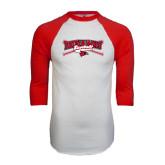 White/Red Raglan Baseball T-Shirt-Baseball Bats